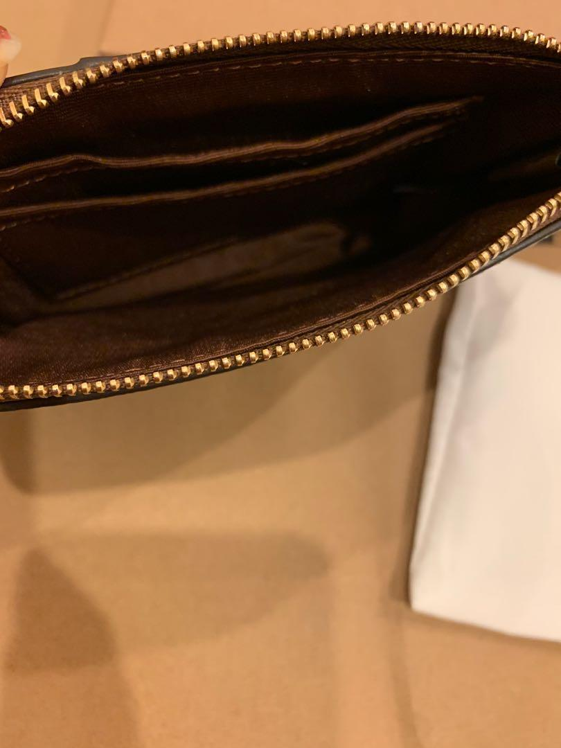 Authentic 58035 women monogram canvas Wrislet card holder coin bag