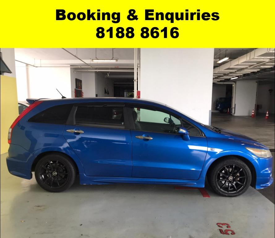 Honda Stream RSZ CHEAPEST RENTAL WITH 50% OFF CIRCUIT BREAKER, Travel with a peace of mind with just $500 deposit driveaway. Whatsapp 8188 8616 now to enjoy special rates!!