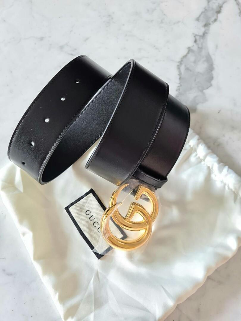 Ready GUCCI Marmont belt black 40mm shinny buckle ghw size 85 for woman  Dustbag, tag, copyrec