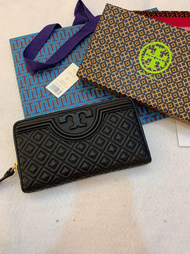 Ready Stock authentic Tory Burch Fleming calf leather long wallet purse handphone bag