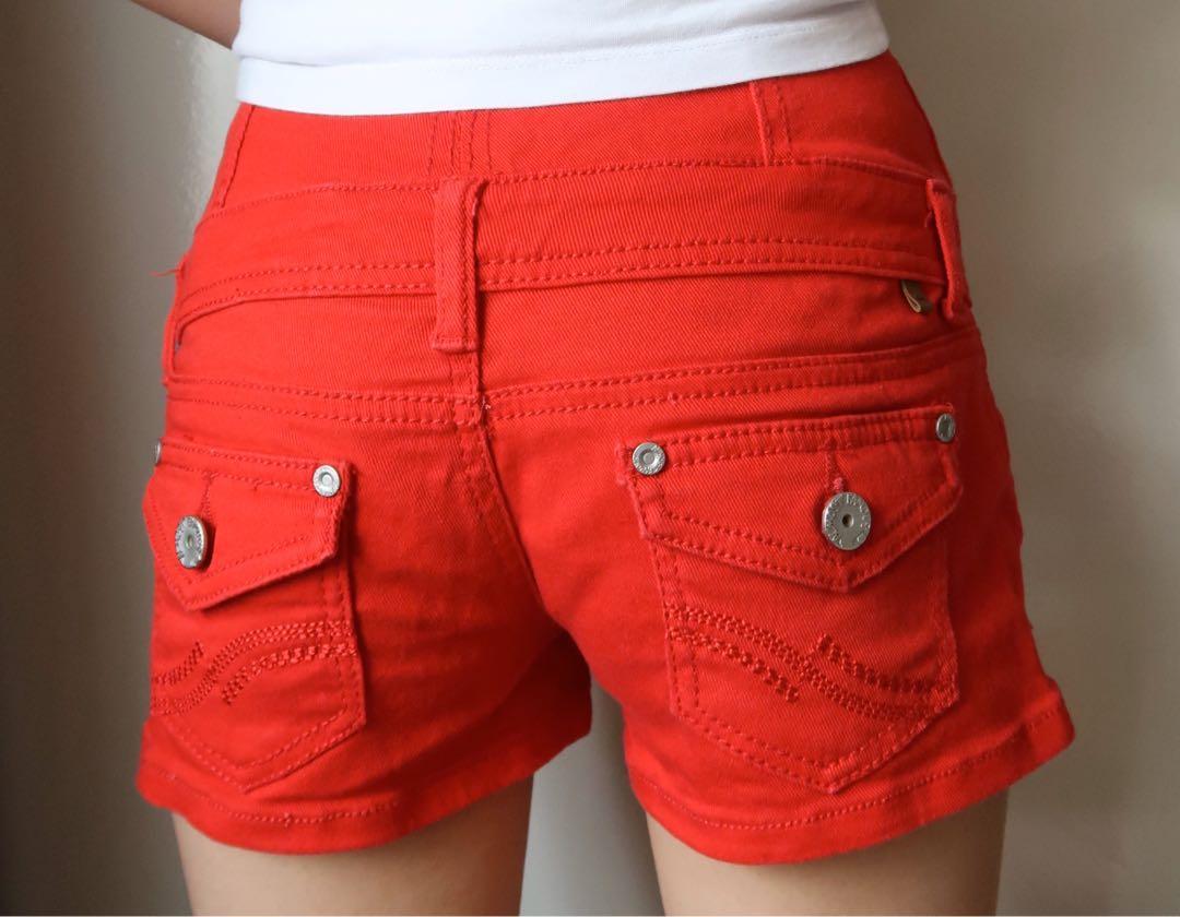 Red High waisted denim shorts