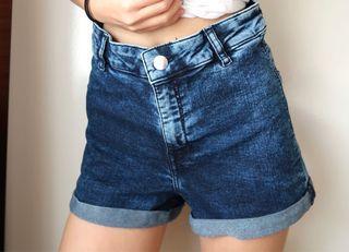 Size 6: dark blue high waisted denim shorts