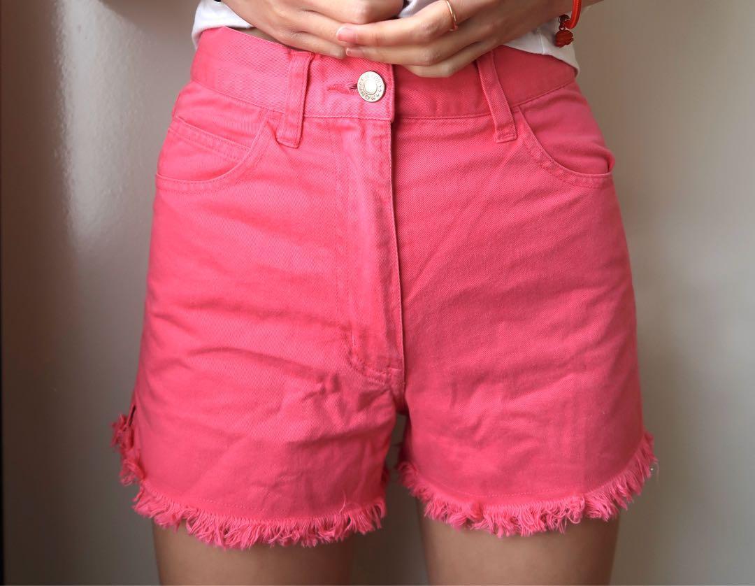 Size 8: pink denim shorts