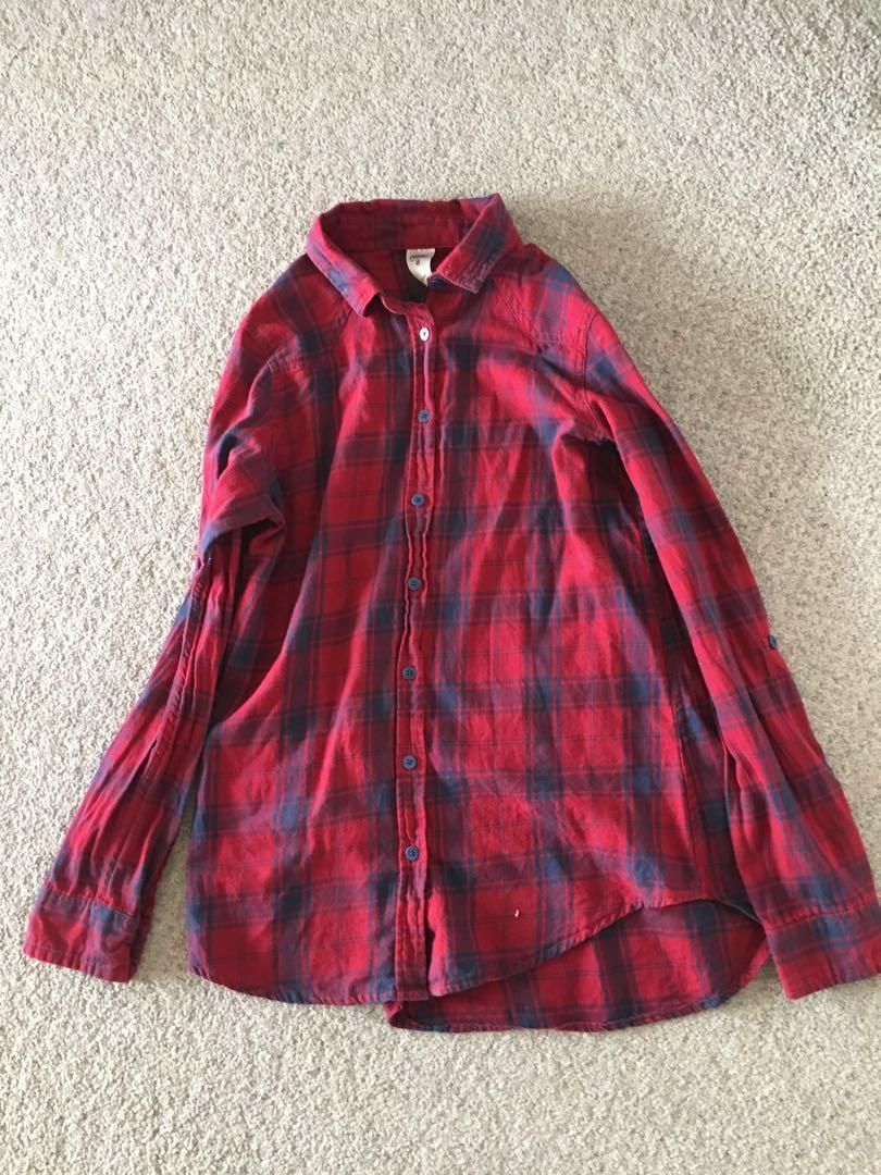 Size 8: red checkered flannel