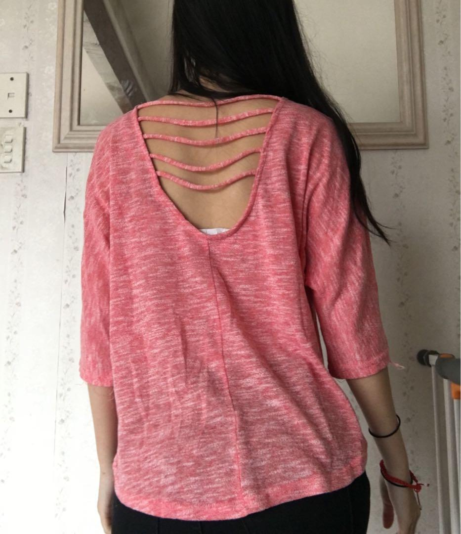 Size small: cute pink top with back design