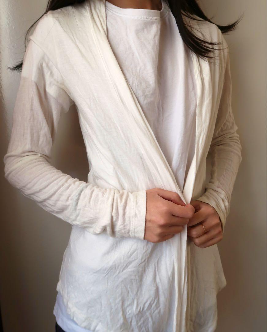 Size small: white cardigan
