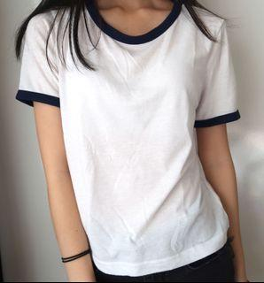 Size xs: blue and white ringer crop top