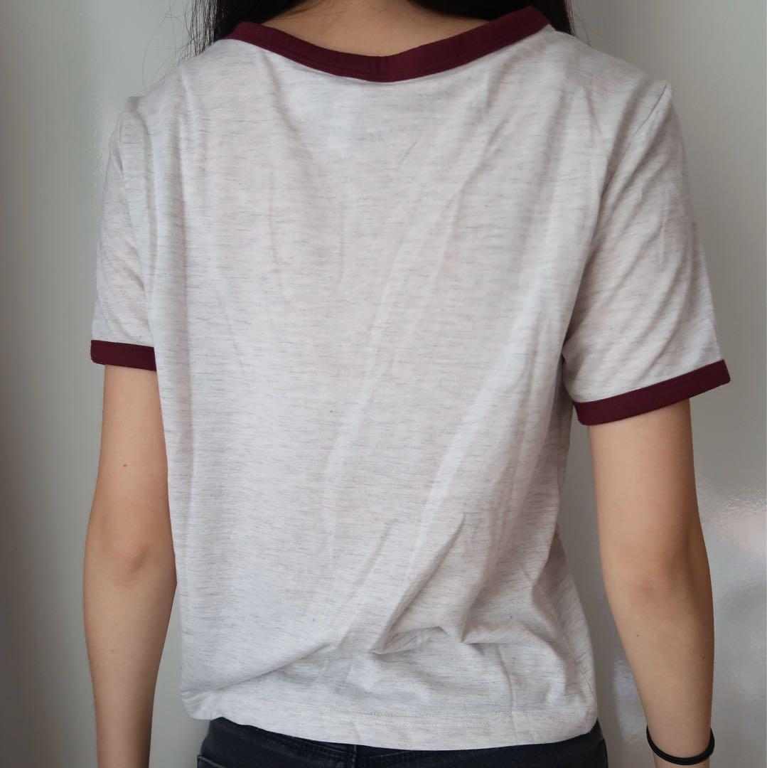 Size xs: white & maroon ringer crop top