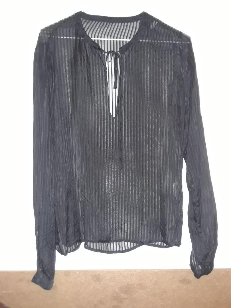 Vintage Black silk chiffon blouse striped  made in Italy small