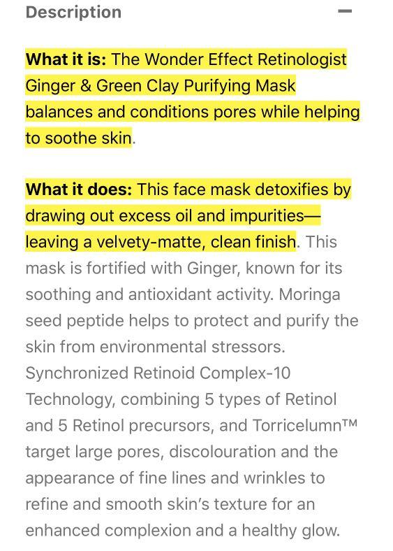 Wonder Effect Retinologist ginger and green clay purifying mask $35 50 ml