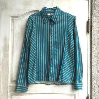 復古風配色 綠橘條紋有腰線長袖襯衫