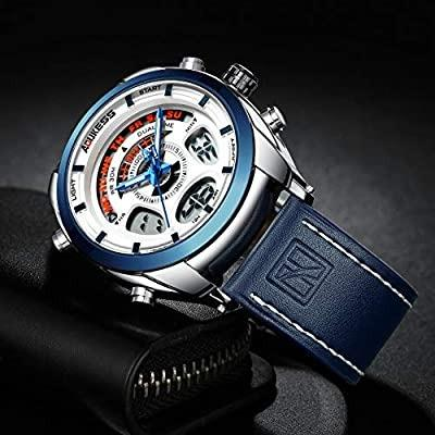 B. AOUKESS Men's Analogue-Digital Quartz Watch 30M Waterproof Sport Watch with Blue Leather Bracelet Calendar Alarm and Multifunction Watch for Man