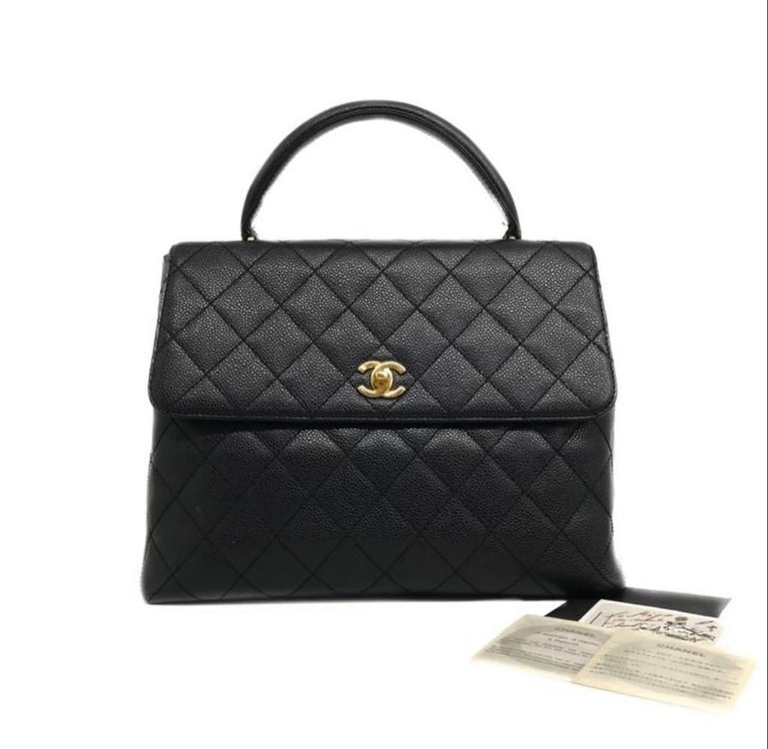 CHANEL Kelly Black Caviar GHW # 10 30 x 22 x 11 CM  Comes witg holo, care card & booklet