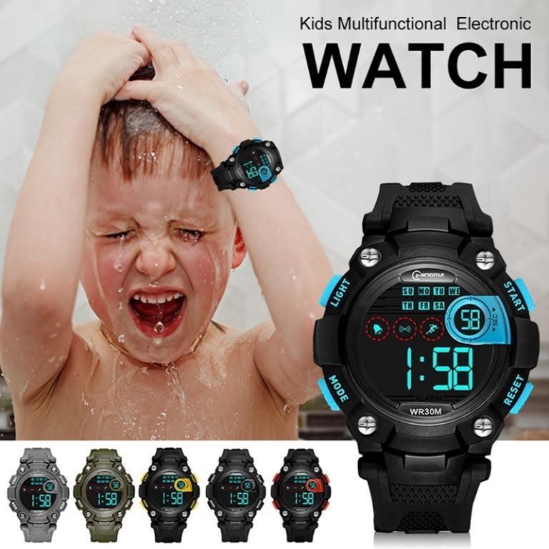 Free Shipping Kids Multifunctional Electronic Watch Outdoor Sports 30M Waterproof Digital LED