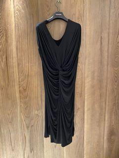 黑色棉質報袖洋裝