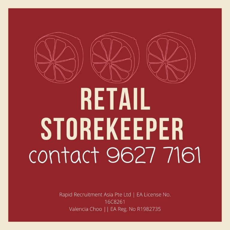 💎 RETAIL STOREKEEPER (UP$1800, YISHUN, FAST HIRING)💎