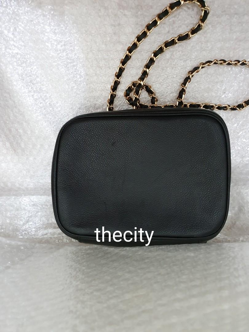 AUTHENTIC CHANEL BLACK CAVIAR LEATHER VANITY BAG - IN GOOD CONDITION - CLEAN INTERIOR - HOLOGRAM STICKER INTACT - COMES WITH EXTRA ADD LONG CHAIN STRAP FOR SLING / CROSSBODY - (CHANEL VANITY BAGS NOW RETAIL AROUND RM 20,000+)