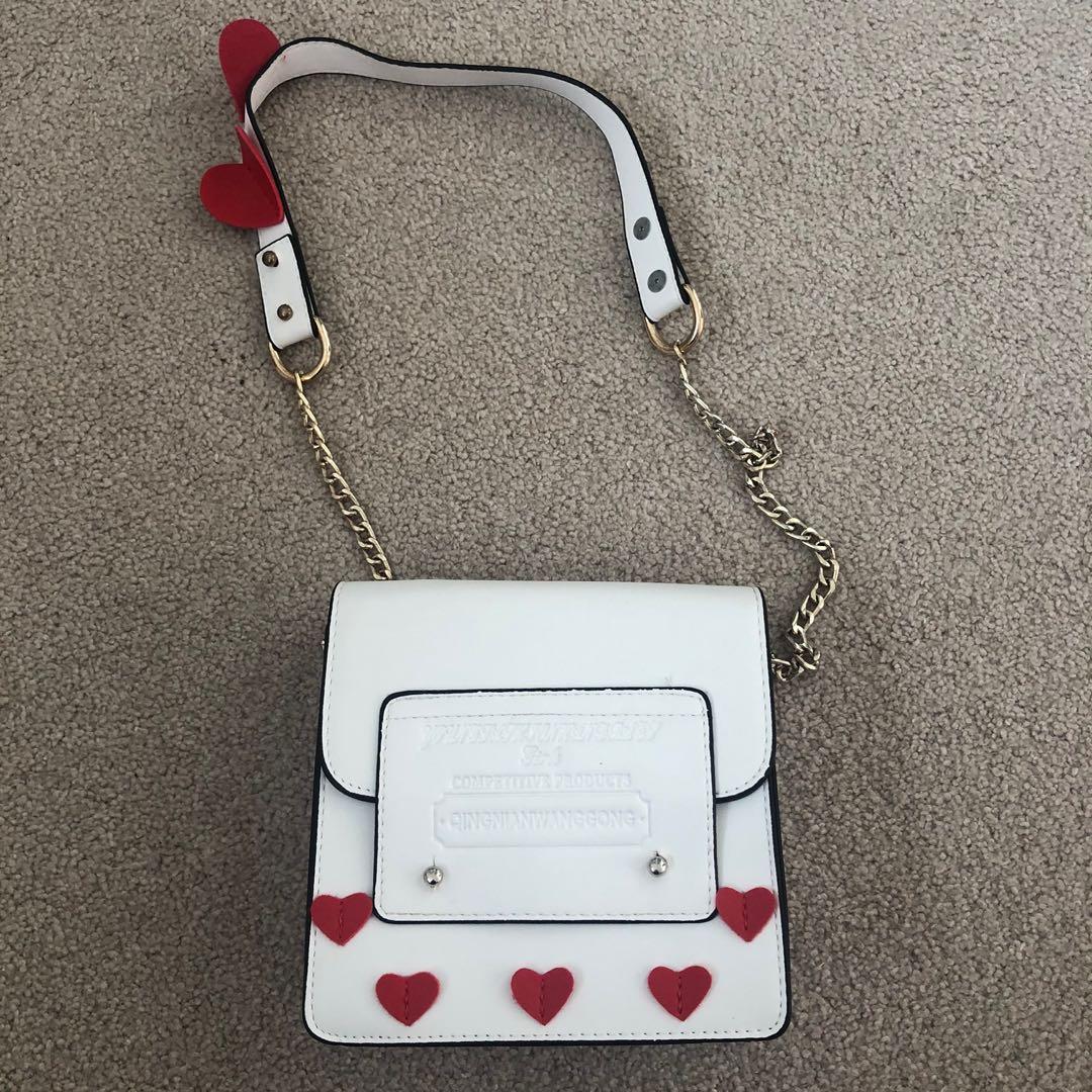 Cute white heart  mini bag