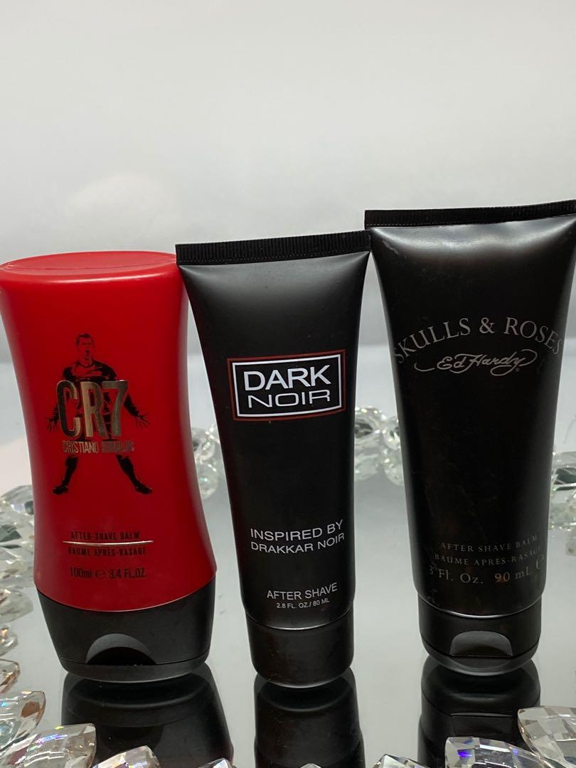 Dark noir 80 ml aftershave balm $15 Skulls and roses Ed Hardy 90 ml $15  CR7 Christiano Ronaldo 100 ml $15