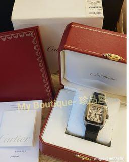 【My Boutique-珍品屋】全配盒單齊全卡地亞Cartier Santos 100 山度士機械錶~錶帶已換全新品,經典款男女皆適合~型號W20106X8