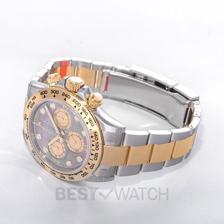 [NEW] Rolex Cosmograph Daytona 18ct Yellow Gold Automatic Black Mother Of Pearl Dial Diamonds Men's Watch 116503-0009G