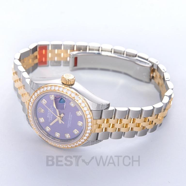 [NEW] Rolex Lady-Datejust Steel And 18ct Yellow Gold Automatic Purple Diamond Dial Ladies Watch 279383RBR-0015G