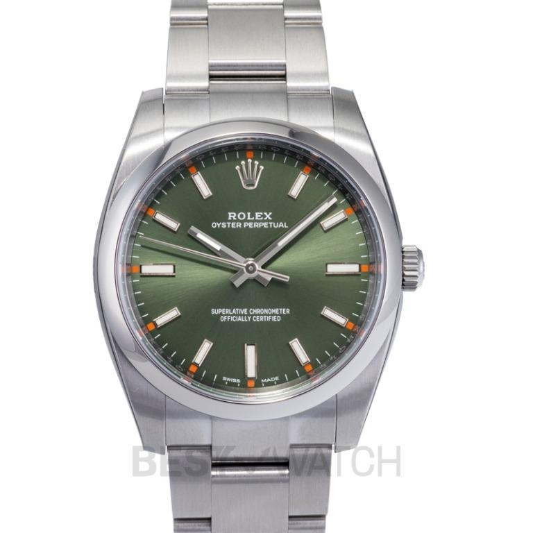 [NEW] Rolex Oyster Perpetual 34 Green Olive Dial Stainless Steel Bracelet Automatic Unisex Watch 114200 Green