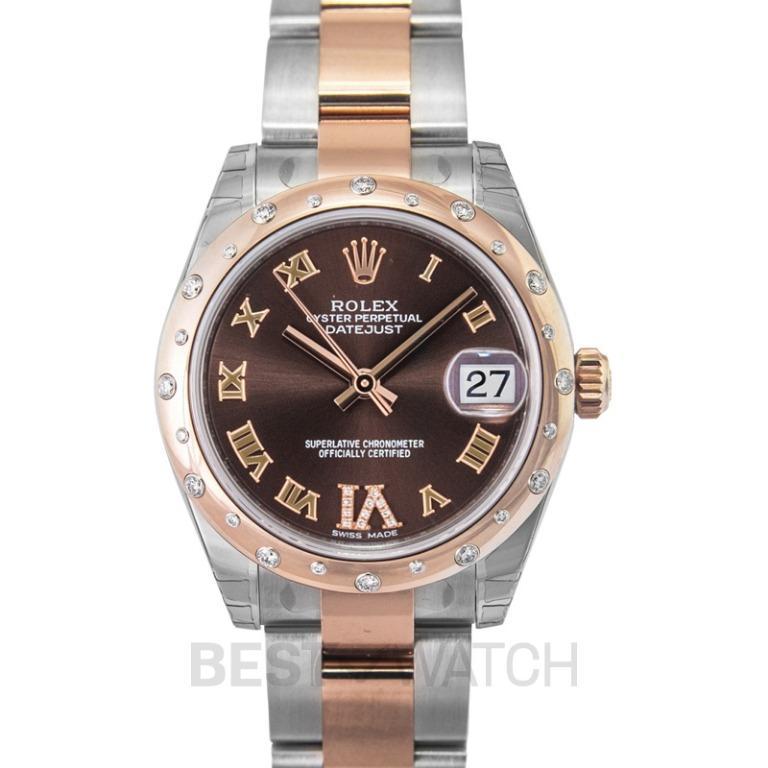 [NEW] Rolex Rolex Datejust 31 Chocolate Dial Steel and 18K Everose Gold Diamond Ladies Watch 178341 178341/2