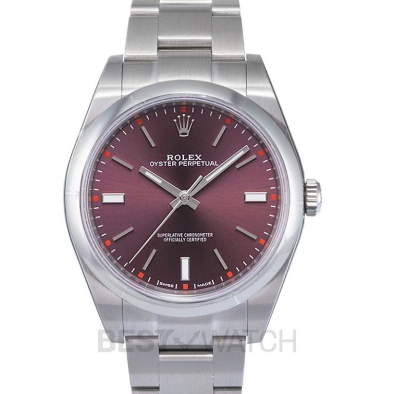 [NEW] Rolex Rolex Oyster Perpetual 39 Red Grape Dial Stainless Steel Bracelet Automatic Men's Watch 114300RGSO 114300/Purple