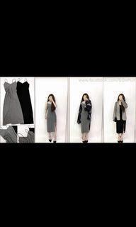 全新 黑色細肩帶彈性開衩性感低胸吊帶裙