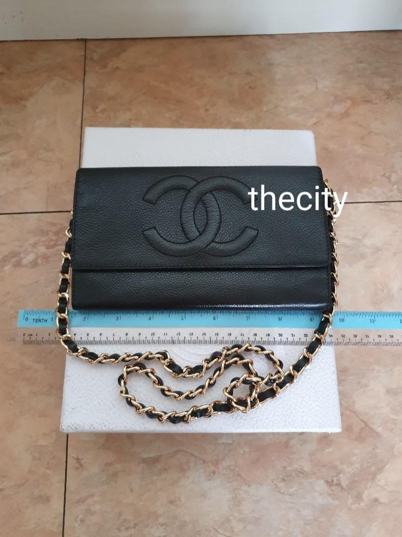 AUTHENTIC CHANEL BLACK CAVIAR LEATHER- XL BIG ORGANIZER POUCH / WALLET- CC LOGO DESIGN - LEATHER IN GOOD CONDITION, CLEAN INTERIOR- GOLD HARDWARE- WITH EXTRA ADD HOOKS &  STRAP FOR CROSSBODY SLING - HOLOGRAM  INTACT - CLASSIC TIMELESS VINTAGE DESIGN