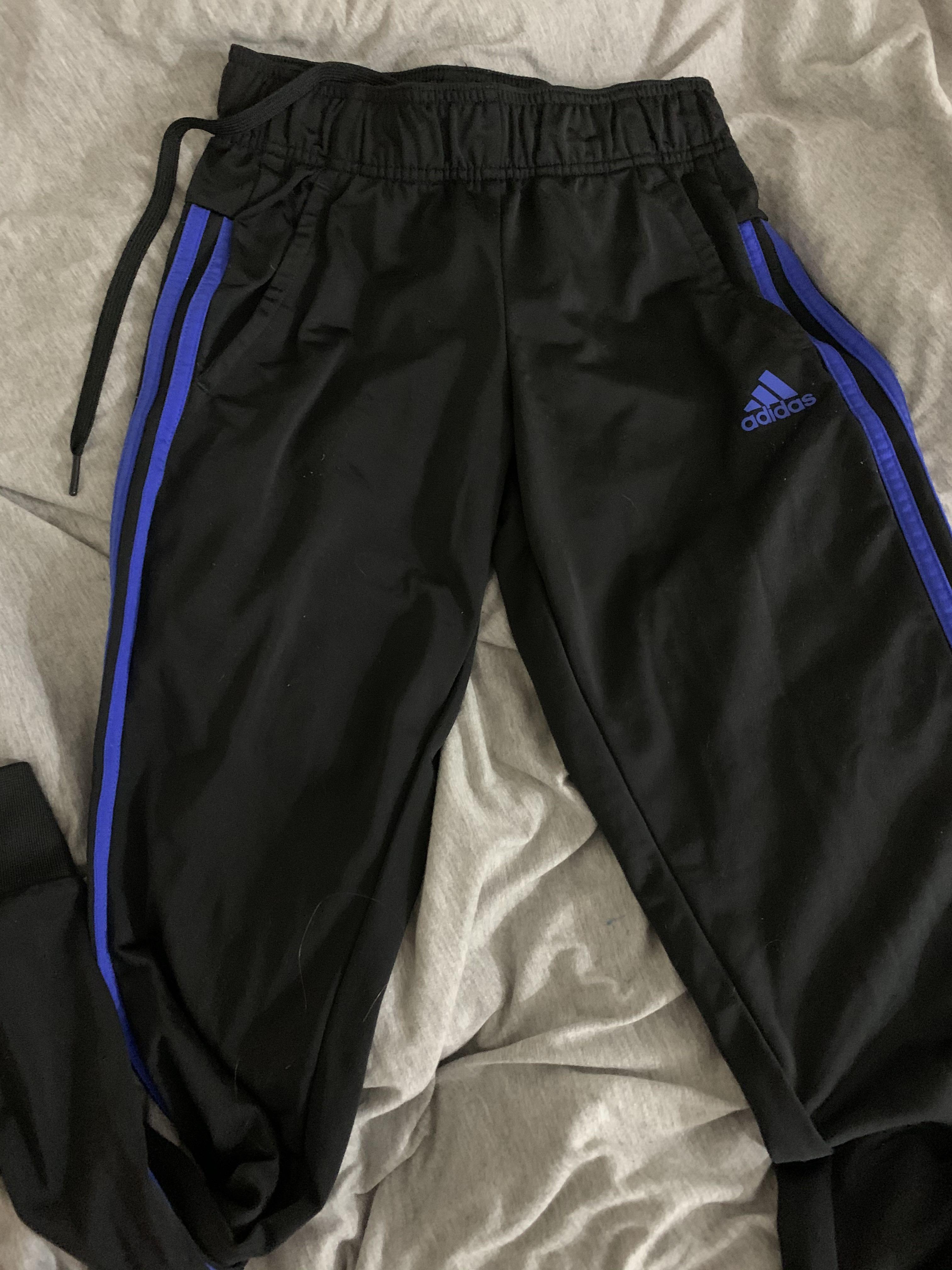 blue stripe adidas pants