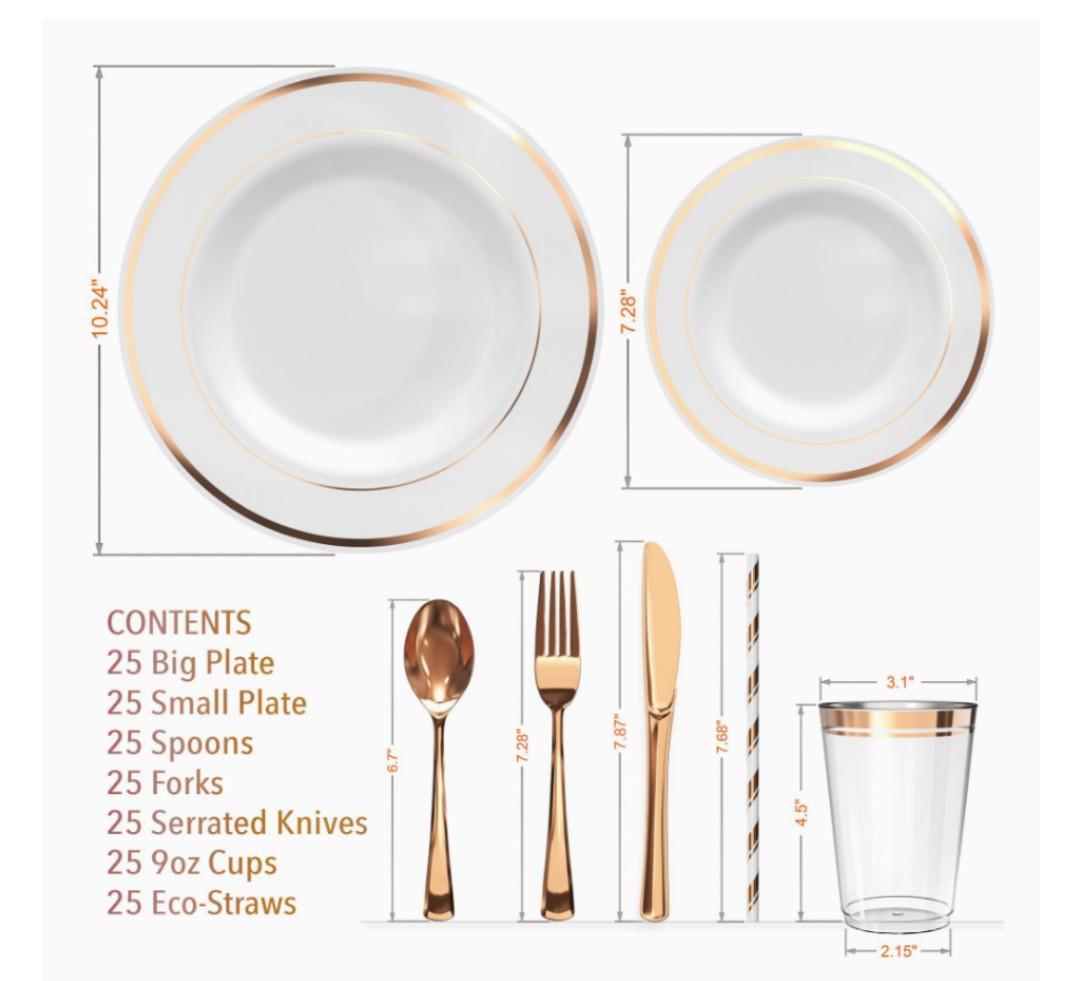 Brand New Rose Gold 175 Pieces Plastic Disposable Dinnerware Set