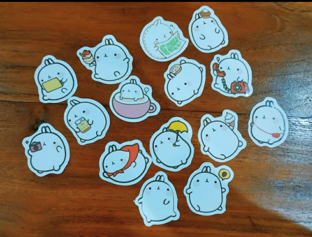 Cute molang sticker flakes