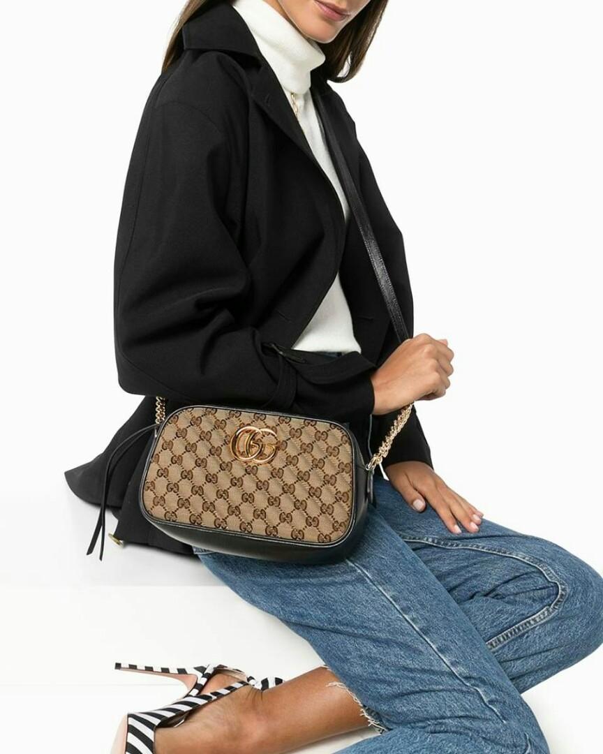 Gucci marmont GG canvas leather camera bag small  Color : beige black Size : 24cm x 13cm  12.900.000