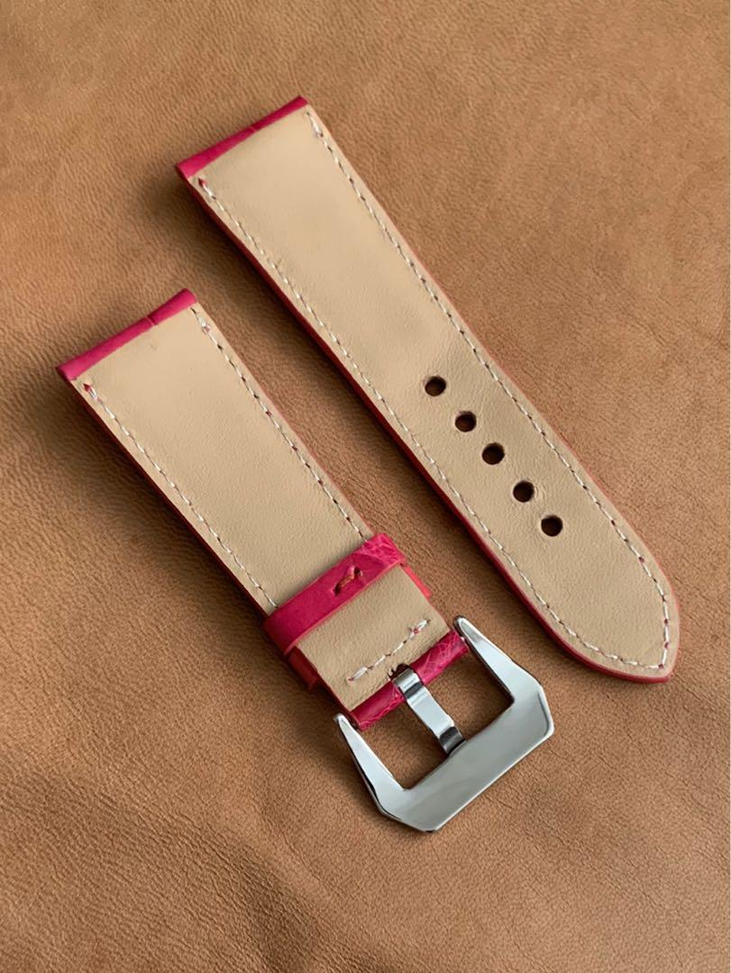 [DISCOUNTED] 26mm/22mm Pink Fuchsia Brown Authentic Alligator 🐊 Crocodile Watch Strap - 26mm@lug/22mm@buckle   (Length- L:120mm, S:75mm) (only 1 piece like that 😊👍🏻- once sold, no more ) - LAST SUCH PIECE- CB SALE!!😊