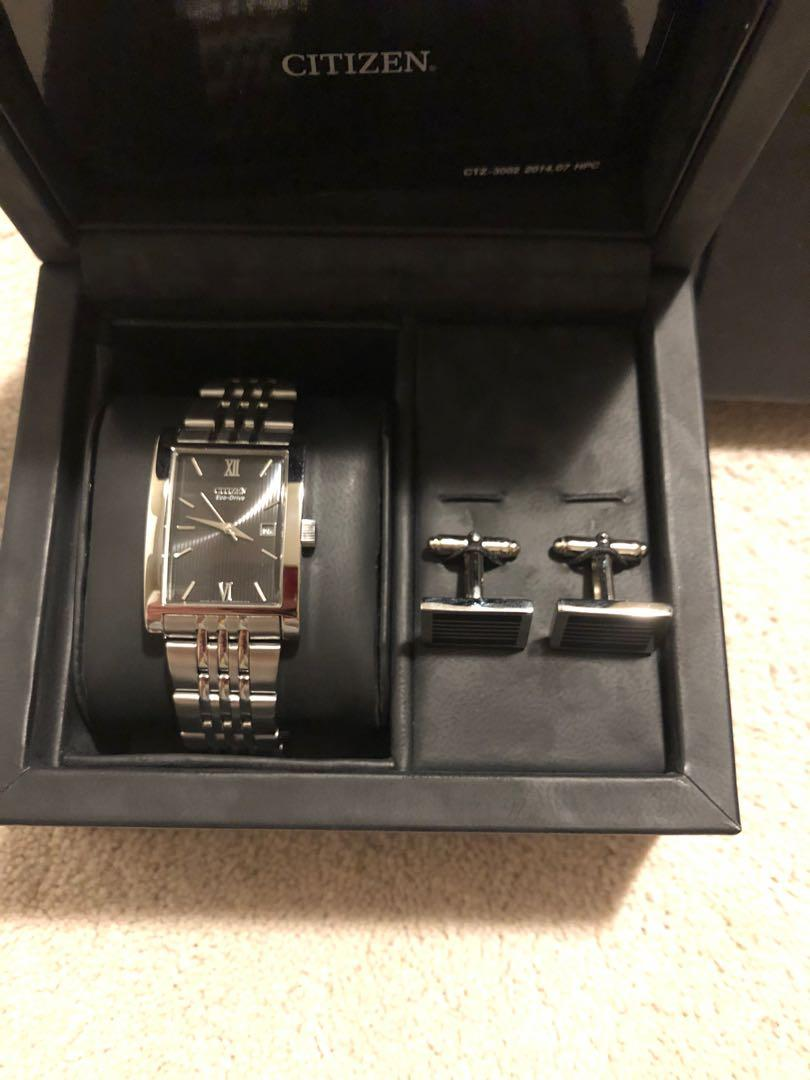 Men's Citizen watch with cuff links. Perfect gift!