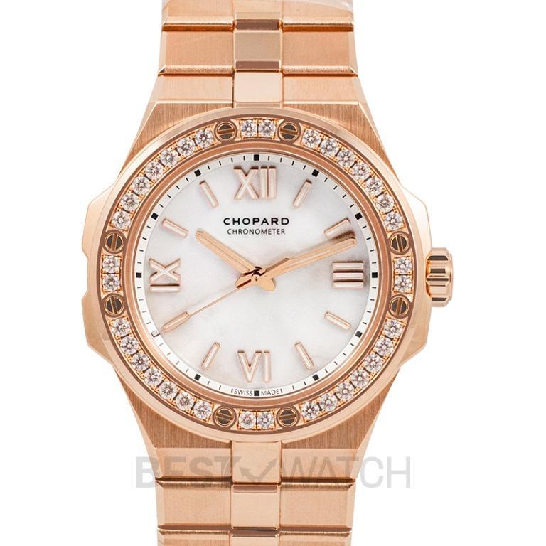 [NEW] Chopard Alpine Eagle Automatic Mother of Pearl Dial Gold Case & Bracelet Diamond Bezel Ladies Watch 295370-5002