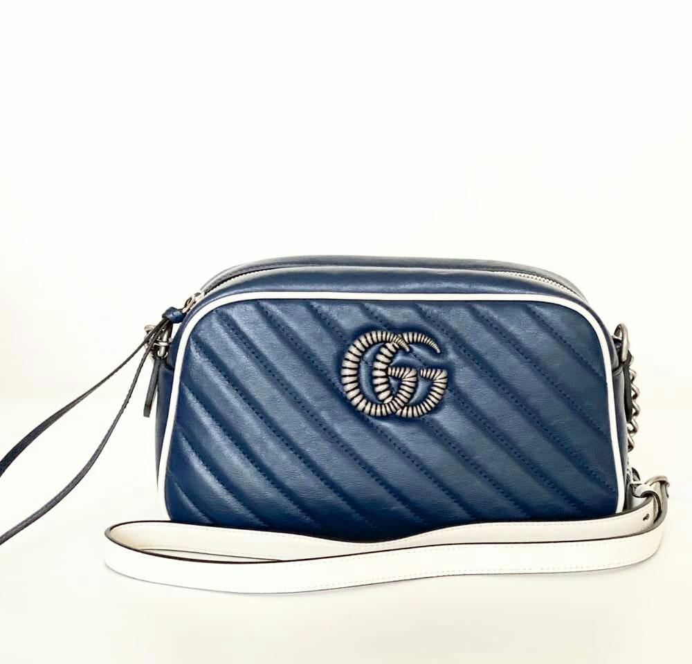 New collections !  Gucci marmont camera bag blue with white lining  Size : 24cm