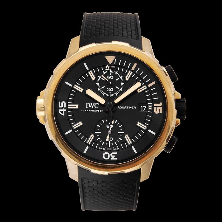 """[NEW] IWC Aquatimer Chronograph Edition """"Expedition Charles Darwin"""" Automatic Black Dial Men's Watch IW379503"""