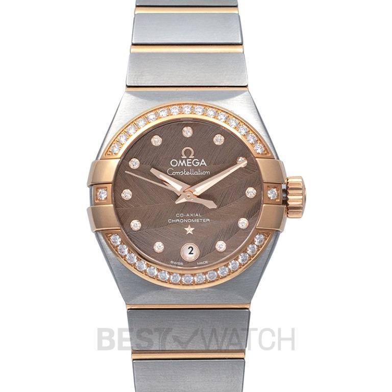 [NEW] Omega Constellation Co-Axial 27 mm Automatic Brown Dial Diamonds Red Gold Ladies Watch 123.25.27.20.63.001