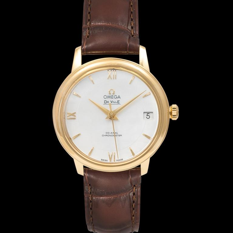 [NEW] Omega De Ville Prestige Co-Axial 32.7mm Automatic White Dial Yellow Gold Ladies Watch 424.53.33.20.05.002