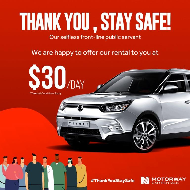 THANK YOU, STAY SAFE. Rent a SUV from us @ $30/day