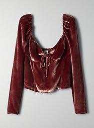 Aritzia novella velvet blouse xxs