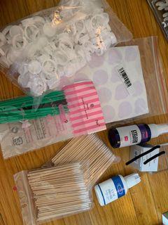 Assorted eyelash extension supplies