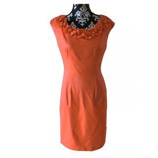 Maggy L Black Sheath Dress Ruffled Neck Size 6 Red Dress
