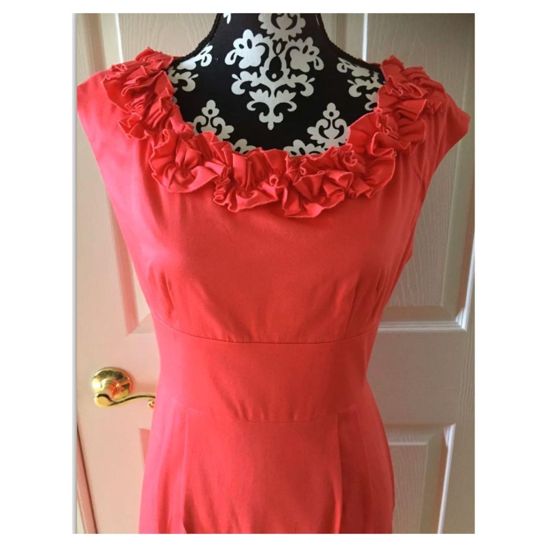 Maggy L Black Sheath Dress Ruffled Neck Size 6 Red Dress