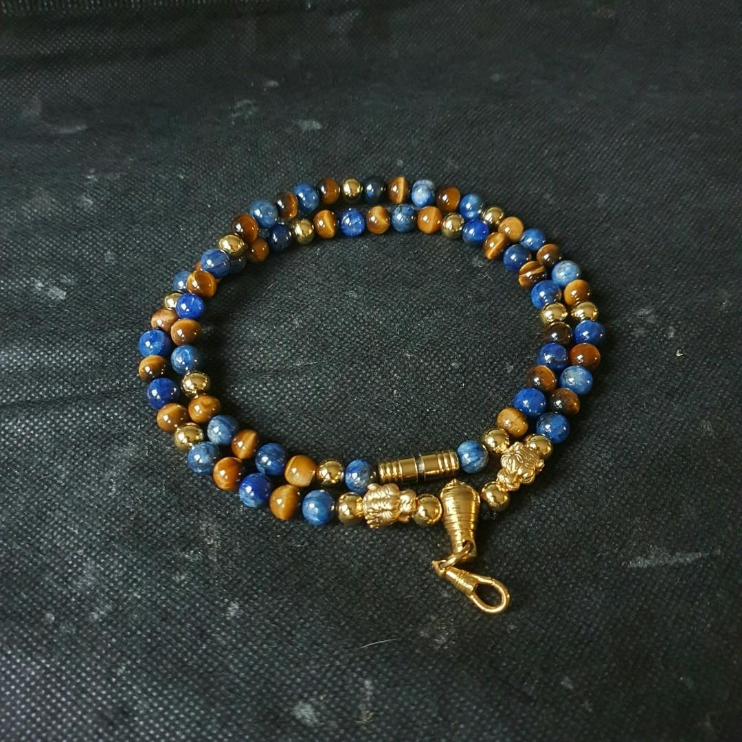 Sold-Nice Quality Blue Kyanite & Tiger Eye with Lucky Pure Silver Golden Tiger & Swarovski Crystal Spacer 1 Hook Necklace (Premium Tiger Series )