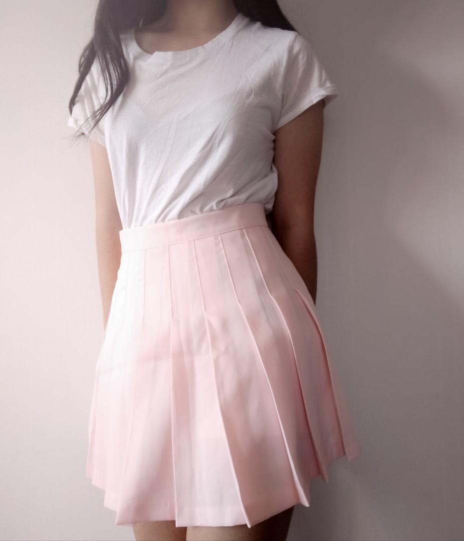 Baby Pink Pleated Skirt