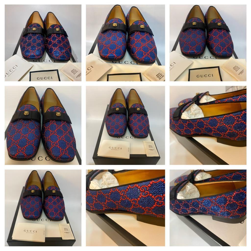 Gucci - Exclusive - Rare - Reduced Price - Blue & Red Lurex Web Loafers - Size 7 (Other Sizes Available As Well)